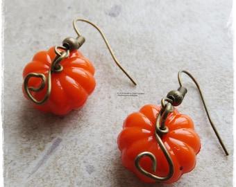 Pumpkin earrings, Halloween earrings, Autumn earrings, Bronze earrings