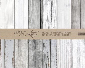 White Wood Digital Papers, Wood Digital Papers, Rustic Wood Textures, White Wooden Pattern