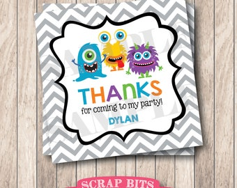 Personalized Printable Monsters Tags . Monster Favor Tags