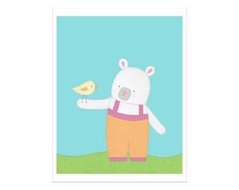 Impression de la chambre d'enfant, ours et oiseaux, Art mural enfant, décoration chambre d'enfant, impression d'Art, Art mural chambre d'enfant, crèche Animal imprimer, ours Nursery décor, Art ours