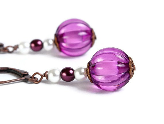 Purple and white melon antique copper hypoallergenic dangle earrings (434)