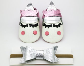 Unicorn Baby Moccasins, Unicorn Party Moccasins, Baby Leather Shoes, Genuine Leather Moccs, Toddler Moccasins, Soft Sole Moccasins