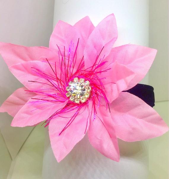Cutie Pie Pet Collars TM  ~Pink Poinsettia Christmas Holiday Sparkle~ Crystal Diamond  Rhinestone Pet Dog Cat Black VELVET Collar USA