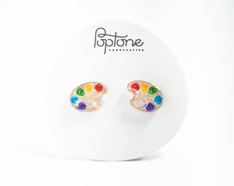Paint Palette Earrings, colorful artist earrings, art teacher gift, artist stud earrings