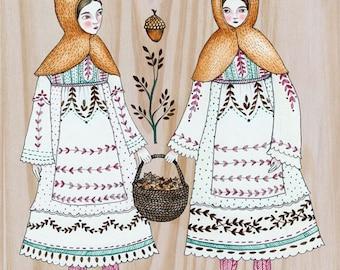 "MarmeeCraft folk acorn girls art print, ""The Gatherers"""