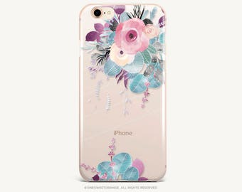 iPhone 8 Case iPhone X Case iPhone 7 Case Floral Clear GRIP Rubber Case iPhone 7 Plus Clear Case iPhone SE Case Samsung S8 Plus Case U24
