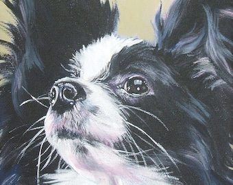 Papillon portrait art Canvas print of a painting by LA Shepard 12x12 dog art
