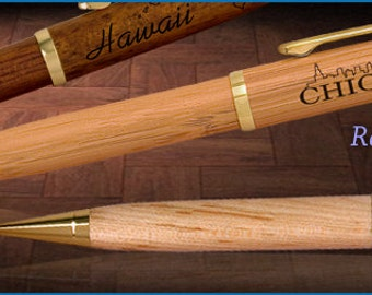 Personalized engraved Pens - Rosewood, Maple or Bamboo