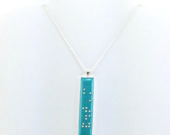 Skinny Braille Necklace -Personalized Braille Pendant - Name Necklace - Vertical Pendant - Choice of Color - MADE to ORDER