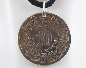 1945 Mexican Aztec Coin Necklace, 10 Centavos, Mens Necklace, Womens Necklace, Coin Pendant, Leather Cord, Vintage