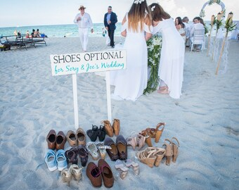 SHOES OPTIONAL, Bride and Groom, Beach Weddings, Mr and Mrs, INCLUDES 2 tall stakes 32 x 8 1/2