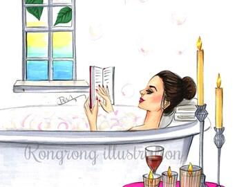 Fashion print, Fashion illustration, Fashion art, Fashion sketch, Fashion wall art, Bathroom art Titled Time to relax