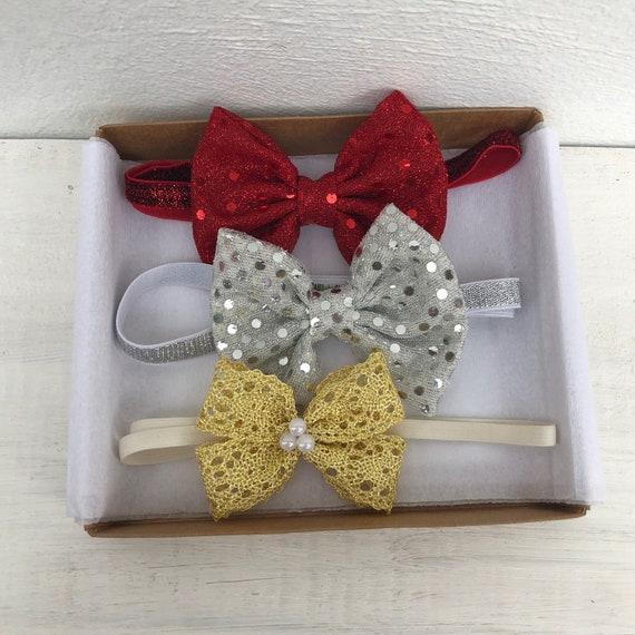 Bow Baby Headband, Infant Headbands Set, Sequin Headband, Red Bow Headband, Silver Bow Headband, Gold Bow Headband, Infant Headband