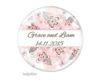 Pink floral wedding favor magnets, 20 personalised Pink floral wedding favors