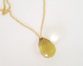 Lemon Quartz drop necklace, Gemstone Necklace, Gift Necklace, Pendant Necklace, Minimalist Necklace