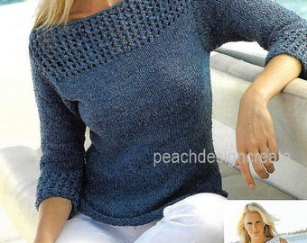 knitting pattern pdf, women's ladies, sweater, vest top, summer cotton, sizes 32-42 in, instant download, digital download