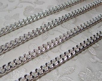 Bright Silver Heavy Plated Flat Twist Cut Curb Chain 7mm x 5mm 356