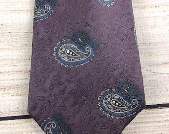 "Ferrell Reed Mens Tie Vintage Nordstroms Purple Blue Paisley 60"" Long"