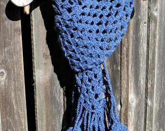 Blue soft wool scarf crocheted long blue wool scarf blue wool wrap chunky scarf fringe scarf GIFT FOR HER