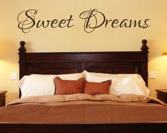Bedroom Decal - Sweet Dreams Vinyl Bedroom Wall Decal - Bedroom Decor- Bedroom Decals- Bedroom Decor-Bedroom Wall Decals-Bedroom Art