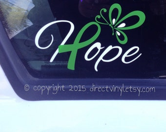 Hope with Green Ribbon And Butterfly Window Decal (cerebral palsy, brain injury, celiac disease, lyme disease)