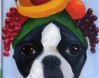 Boston terrier wearing fruit hat dog art magnet, Boston terrier gift, boston terrier magnet, boston terrier art