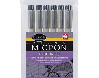 Pigma Micron, pennarelli neri, Set di 6, Archival inchiostro, penna ideale per il disegno artistico, illustrando, pianificazione, inserimento nel journal e Scrapbooking