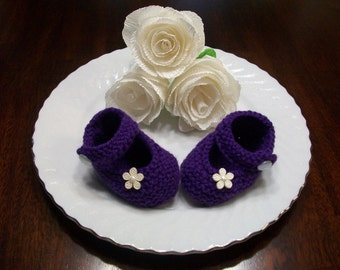 Purple Baby Booties, Purple Baby Shoes, Purple Baby Girl Shoes, Purple Newborn Booties, Purple Crib Shoes, Purple Crochet Baby Booties