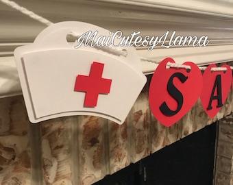 Perosnalized Name banner-Nurse Party-Nurse Graduation-RN-Graduation Party-Medic- Party Decor-Party Supplies-Die Cuts-Registered Nurse-2018