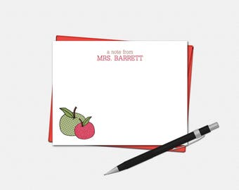 Personalized Apple Note Cards - Teacher Gifts - Apple Gift - Set of 10 - Flat Note Cards - Polka Dot Apple Stationery for Teacher