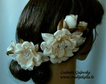 Wedding hair/dress accessories, flower clip and pin, floral hairpiece, bridal hair accessory, ivory color flower hair clip.