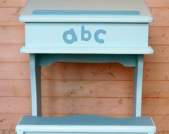 SOLD!  Unique Child's Desk with Seat, Painted in Turquoise and Decorated with Bird Detail and the Alphabet