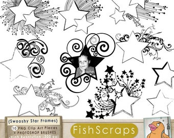 Star Digital Frame ClipArt, Swooshy Shooting Star Label Clip Art, PNG & Photoshop Brush, Graduation, School Teacher