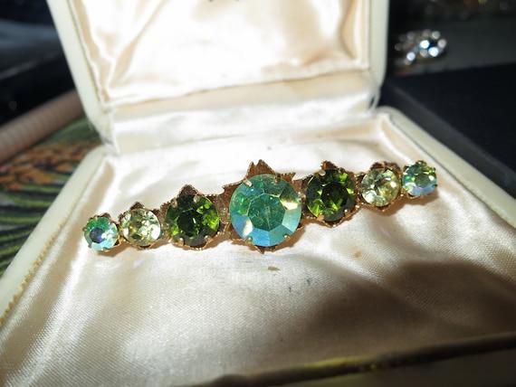 Beautiful Vintage Green Yellow & Aurora Stone gold plated Bar Brooch