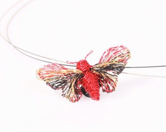 Butterfly necklace for girl, red gold, wire wrapped pendant, modern hippie, insect, cute, art necklace, Summer, Spring, birthday gift women