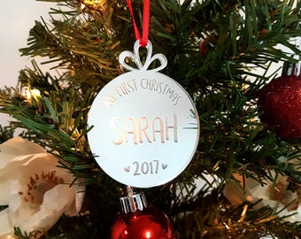 Baby's First Christmas Ornament, Name Ornaments, Custom Christmas Ornament, Christmas gift, Christmas Ornaments, Holiday Keepsake