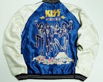 Tailor Toyo Blue Kiss American USA Hard Rock Star Band Yokosuka Jumper Embroidered Bomber Sukajan Souvenir Jacket SIZE: XL SK2434