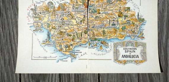 Southern Spain Map Old Map Book Illustration of Andalusia