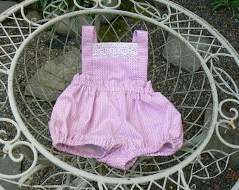 Pink baby girl romper / Custom made baby vintage style romper / Baby girl romper/ baby girls clothing