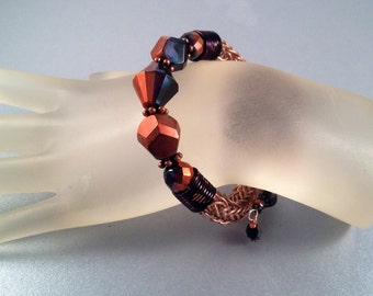 Copper and Black Viking Knit Bracelet Wrap Bracelet One of a Kind Wraps Around Wrist One and One Half Times Fits all Sizes