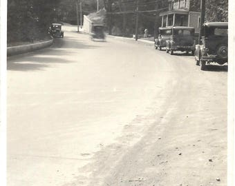 "Vintage Snapshot ""Movin' On Down The Road"" Antique Car Drives Through Small Town So Fast It's A Blur Found Vernacular Photo"