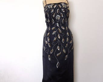 1950s-60s Black Satin Evening Gown - bombshell vintage wiggle dress with sequins and beads - Jr. Theme formal
