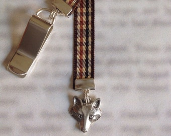 Fox Bookmark / Wolf Bookmark /  Cute Bookmark - Attach to book cover then mark the page with the ribbon. Never lose your bookmark!