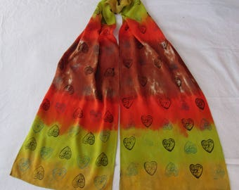 "Hand dyed and hand printed bamboo rayon scarf 12"" x 72"" * original art * OOAK twilightdance"