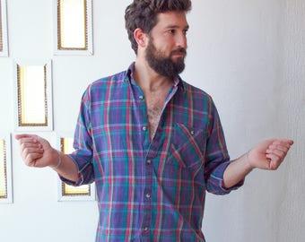 Grunge Flannel mens Medium Purple Plaid Shirt, Plaid Lumberjack Button Up, 90'S Grunge Flannel Button Up Shirt, Soft Flannel shirt