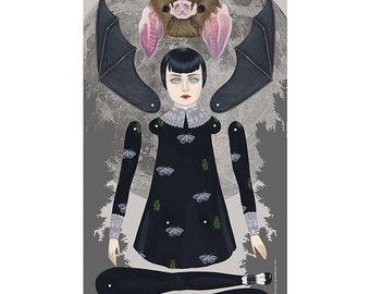 Clearance - As A Bat paper doll print by Amy Earles