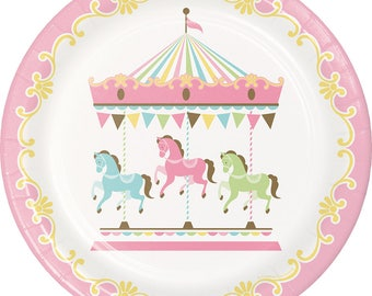 Pastel Carousel Party Plates/ Carousel Party Plates/ Carousel Baby Shower Plates/ Carousel Birthday Party Plates/ Carousel Party