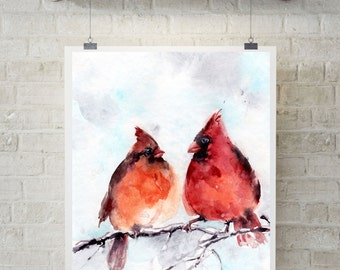 Cardinal Birds Couple Art Print, Pair of Northern Cardinals, birds watercolor painting print, bird wall art