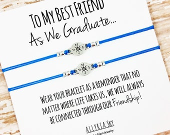 "Set of Two Charm Friendship Bracelets with ""Graduation"" Card 
