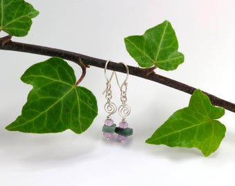 Raw Emerald and Amethyst Earrings, Sterling Silver Earrings, Gift for wife, Gift for Mom